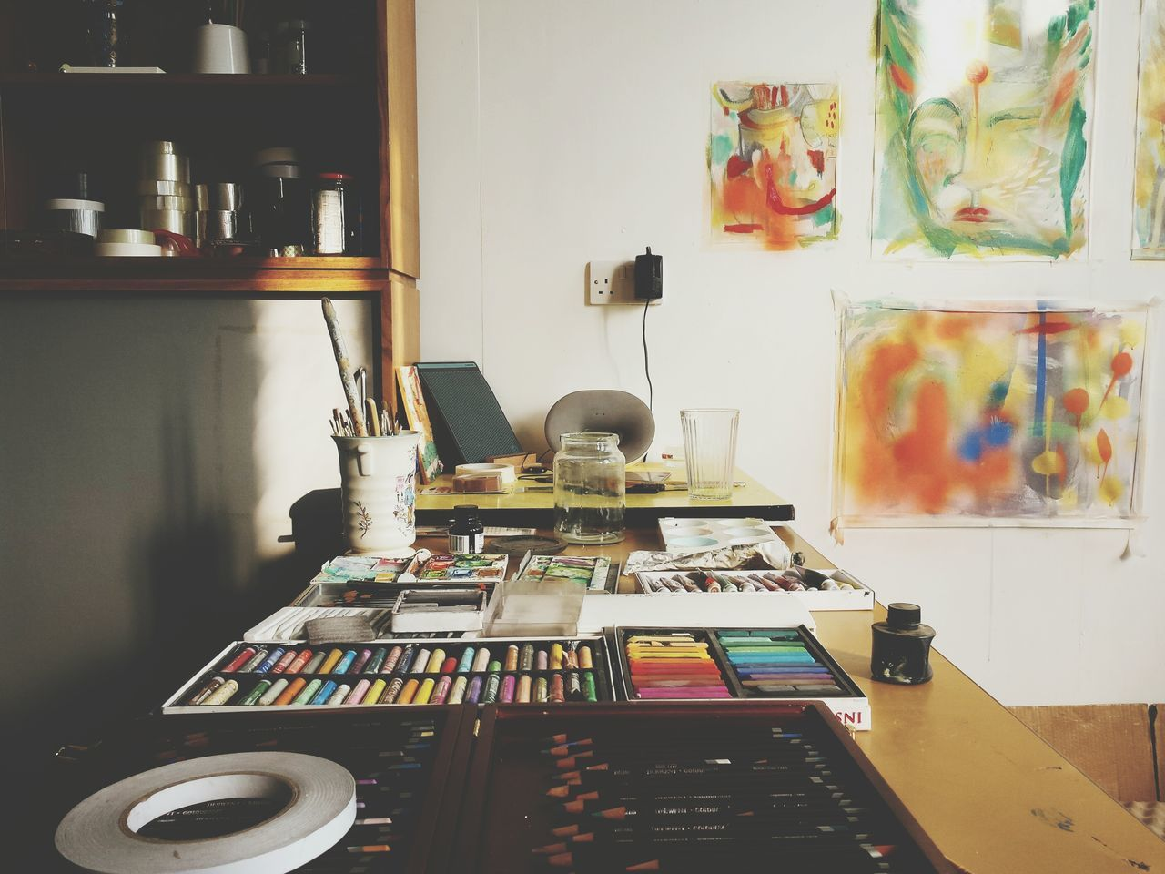 Indoors  No People Day Tranquility Music Domestic Room Studio Studio Shot Studio Photography Studiophotography StudioLife Interior Design Retro Art Painting Artistic Freedom Materials Art Materials Paint Indoor Photography Interior Views Interior Style Interiors Table Yorkshire