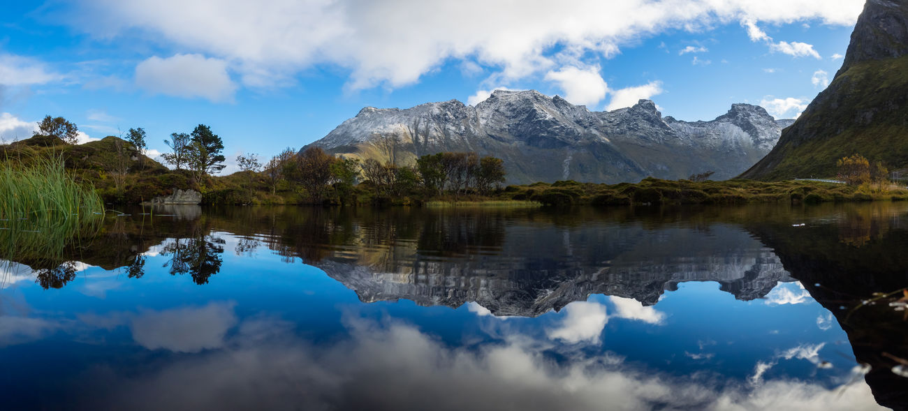 Beauty In Nature Cloud - Sky Day Lake Lofoten Lofoten Islands Mirror Mirror Lake Mountain Mountain Reflection Nature No People Norway Outdoors Panorama Reflection Reflection Scenics Sky Tranquil Scene Water Waterfront
