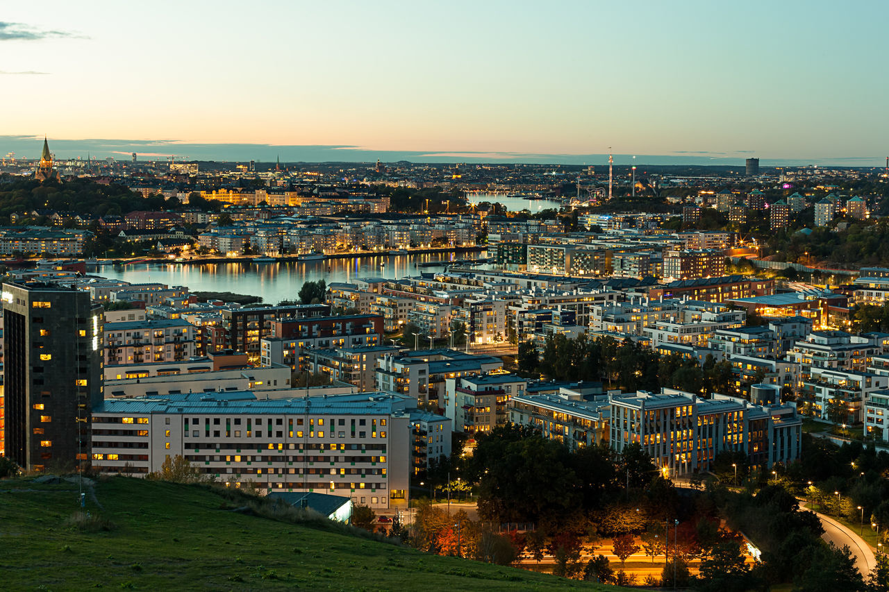 After sunset scene of Stockholm City. View from Sodermalm Island. City Cityscape Cityscapes Destination Europe Night Nordic Countries Scandinavia Stockholm Sunset Sweden Travel