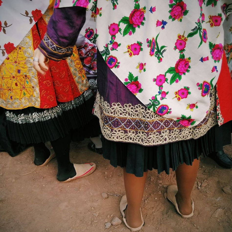 Villagers with traditional clothes waiting for a ceremony to begin. Abyaneh, Iran Colorful Traditional