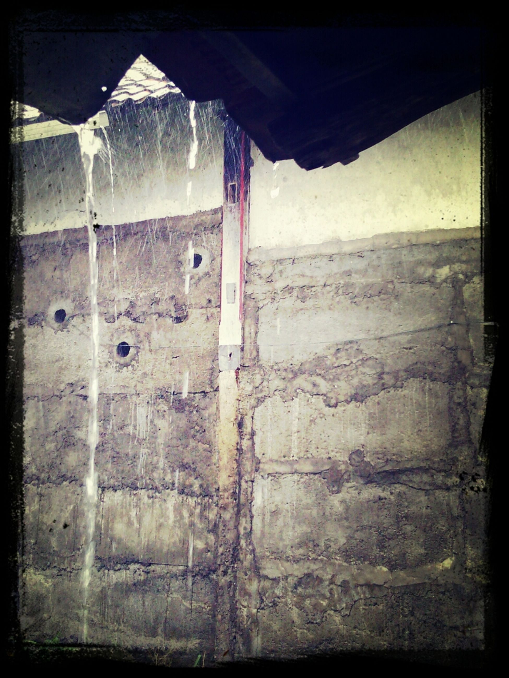 transfer print, auto post production filter, built structure, architecture, abandoned, building exterior, damaged, wall - building feature, old, weathered, run-down, sky, day, house, obsolete, deterioration, wall, sunlight, no people, sea