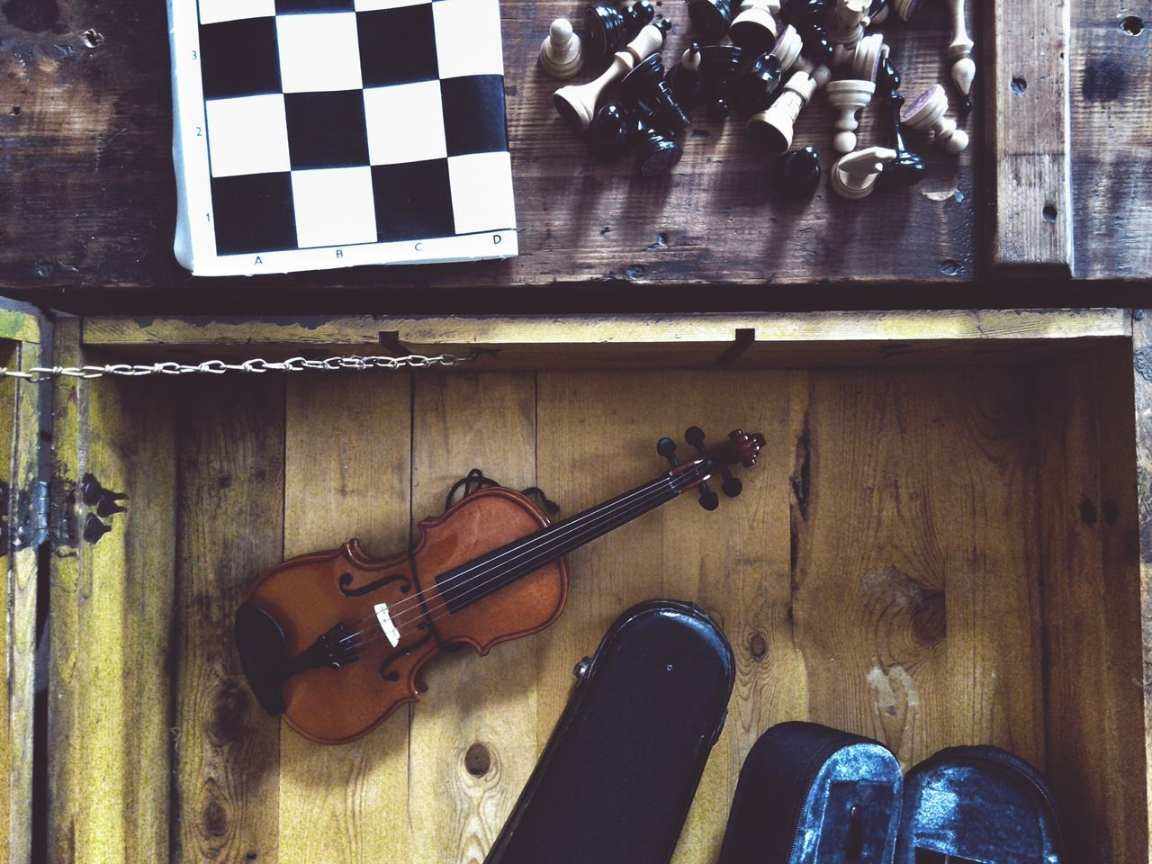 Old Chest Chess Chess Board Chess Set Violin Violin Case Wood - Material High Angle View Indoors  Directly Above Wooden Chest