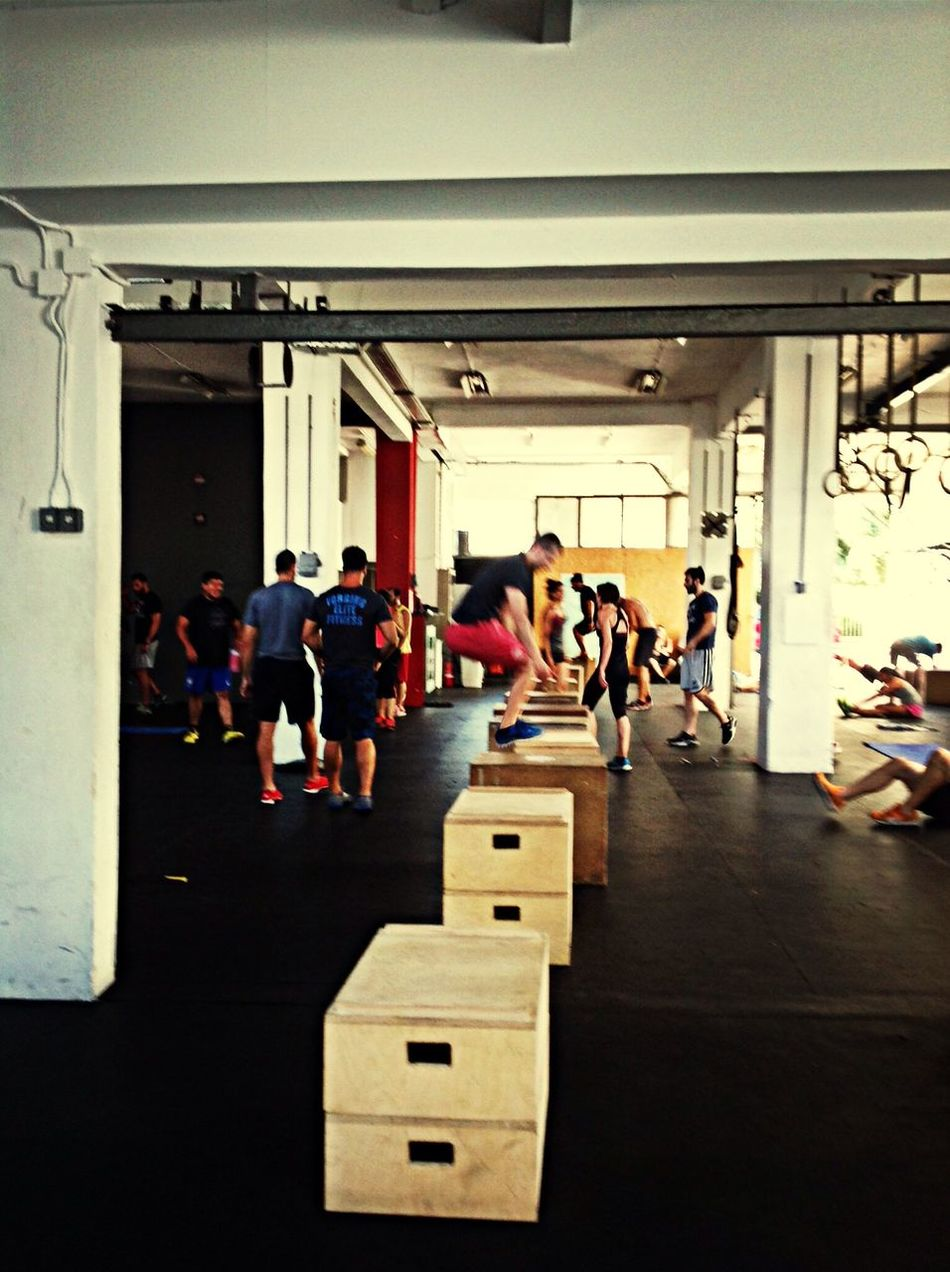 Box Jump Observing Athlete Quick Workout