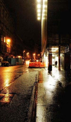 Illuminated Night Wet Car Built Structure Transportation Building Exterior Architecture Land Vehicle Road Outdoors No People Sky Waiting For The Bus In The Rain Streets Of Glasgow Bus Stop Waits Bus Stop, Candid Photography 3XSPUnity