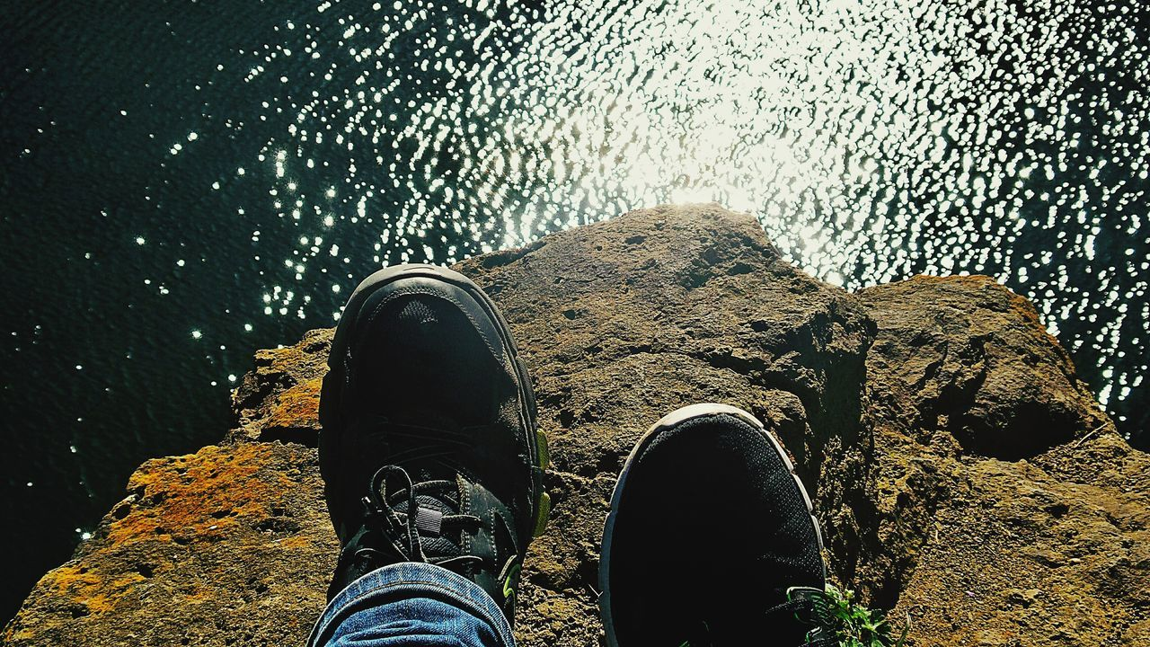 Close To The Edge Resting After A Long Walk Sitting High On Rocks Over The Water... My Son And Me I Don't Like Selfies Just Feet High Over The Lake Sparkling Water Green Lakes Nature near Frankfurt Am Main Germany🇩🇪 Up Close Street Photography Telling Stories Differently Two Is Better Than One Dramatic Angles