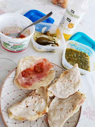 👍 Mi desayuno Food One Person Day Multi Colored Salsas Picantes Salsaverde Chiles Indoors  No People Healthy Eating Freshness Ready-to-eat