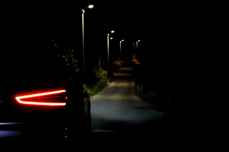 Audi Car Dark Illuminated Night No People Outdoors Red Road Transportation Mistery Lamp Lonely Tranquility Motion Mode Of Transport Shadows & Lights Welcome To Black