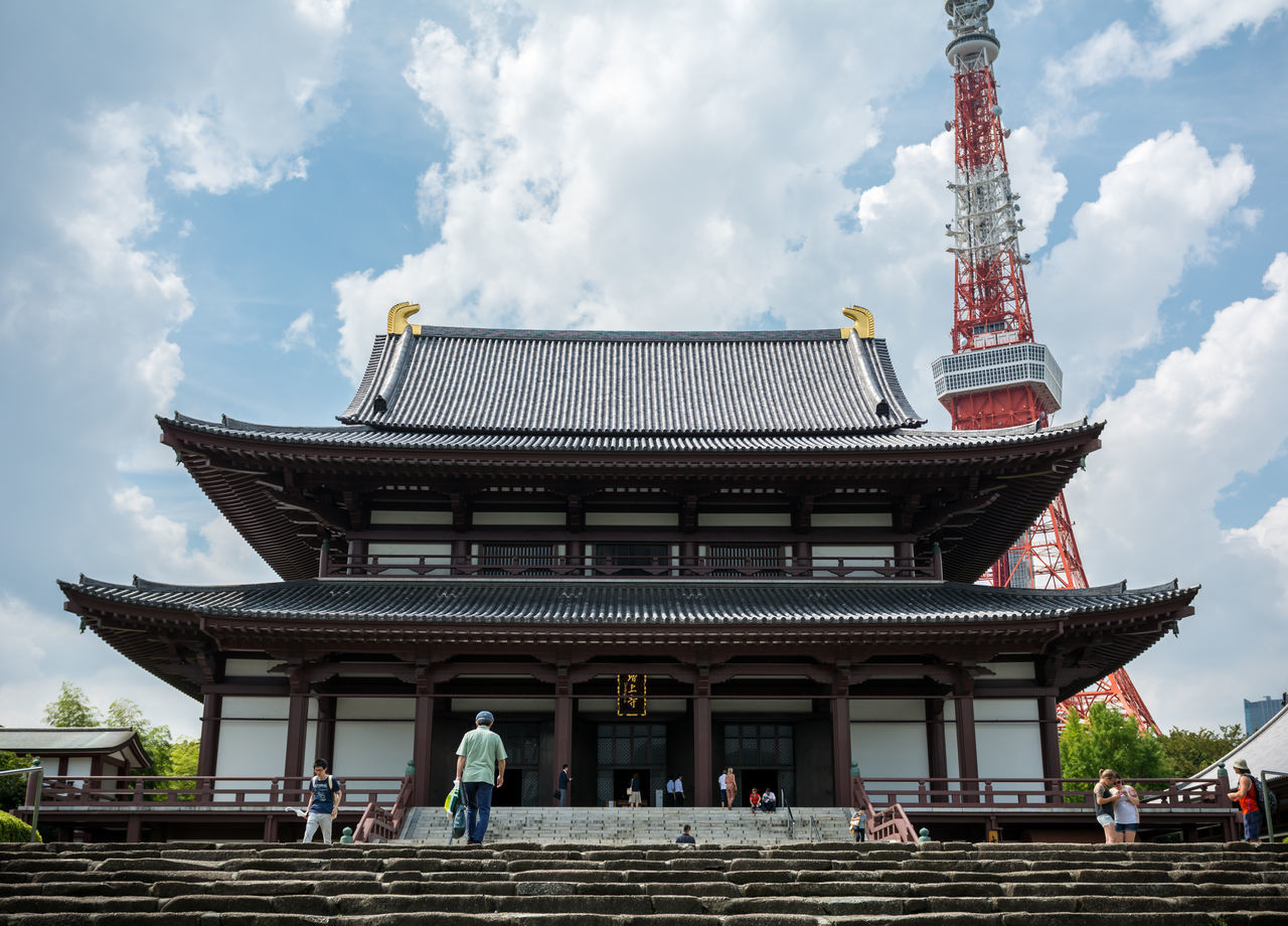 Zojo Ji and Tokyo Tower Architecture Buddhist Building Exterior City Famous Place International Landmark Japan Japanese Shrine Nippon Photography Religion Shrine Sky Temple Tokyo,Japan Tower Zojoji Zojojitemple