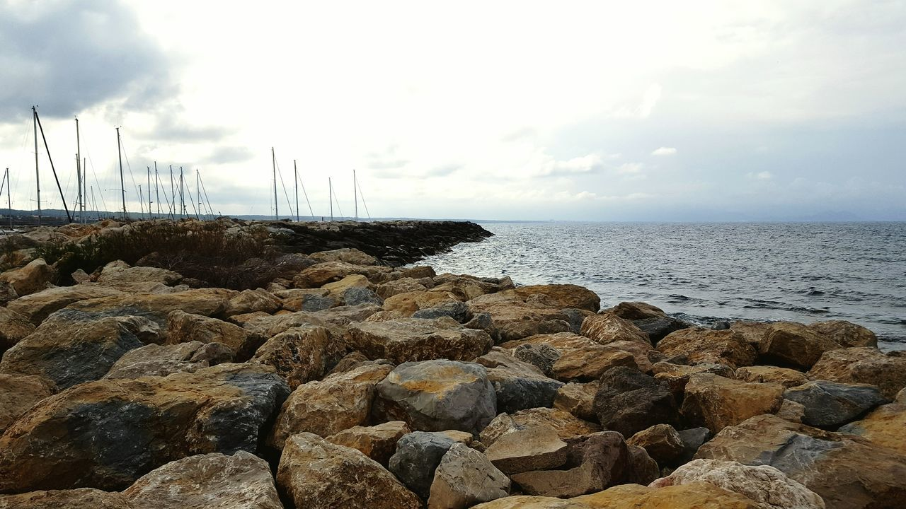Sea Sea And Sky Seaside Bay Harbour Cloudy Rocks Sailboats Breakwater Mallorca Breakwater Trail Mast