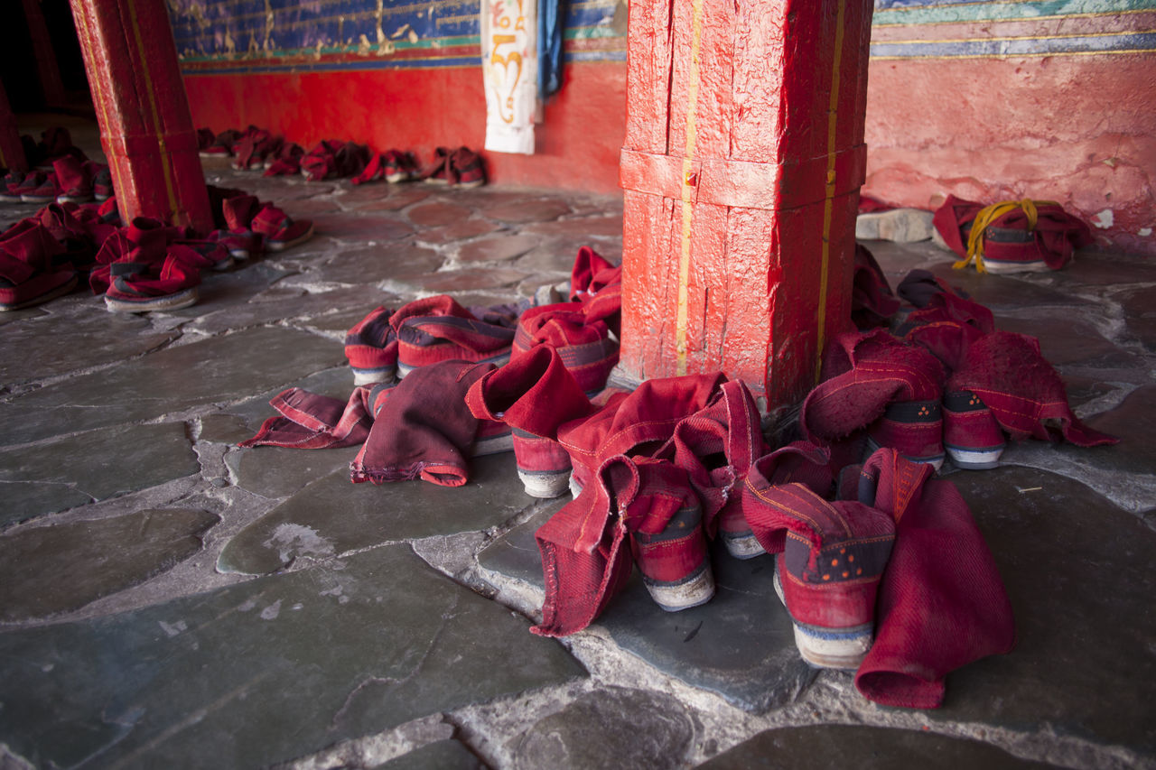 Shoes of Tibetan Buddhist monks. Buddhism Chanting Clothes Indoors  Monastery Red Shoe Tibet Tibetan  Wanderlust Wearing