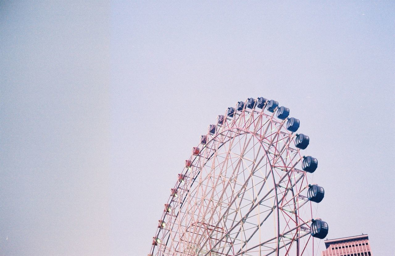 film photography amusement park Ferris wheel Clear sky Low angle view arts culture and entertainment no people leisure activity day outdoors amusement park ride sky big wheel Film iusefilm filmisnotdead 35mm film rinku town Osaka,Japan analog vintage Architecture festival Fun family time