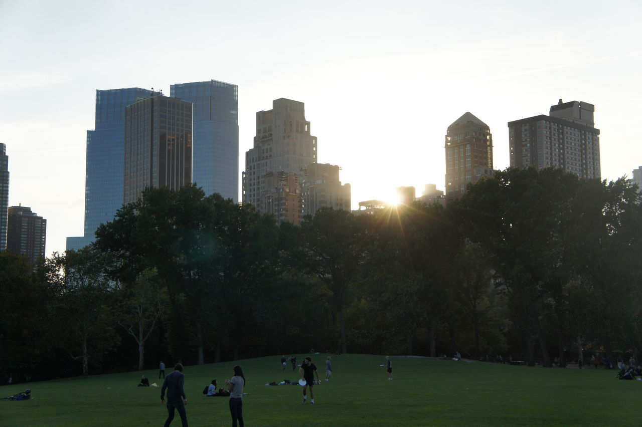 architecture, building exterior, skyscraper, built structure, real people, city, tree, outdoors, large group of people, sky, modern, sunlight, men, park - man made space, leisure activity, day, urban skyline, cityscape, travel destinations, lifestyles, growth, sunset, nature, people