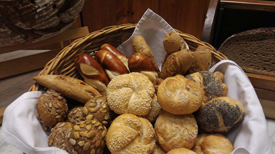 Basket of assorted rustic freshly baked bread, buns and loafs Artisan AssoRted Austrian Bakery Basket Bread Breakfast Buns Close-up Day Food Food And Drink French Food Freshness Healthy Eating Indoors  Loaf Mix Morning No People Shop Shopping Store The Shop Around The Corner Variety