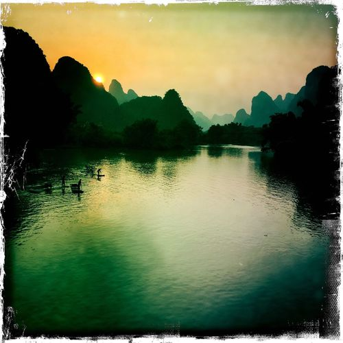 View Sunset Landscape Yangshuo Guilin River