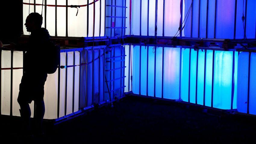 Full Length Blue Railing Person Railings Night Profile Men Dark CutOut Illuminated Cubes & Light Silhouette Light Cube Unrecognizable Person Outdoors Jardin Du Plaisir Part Of NightSnaps Zürifäscht 2016 Impressions |4|