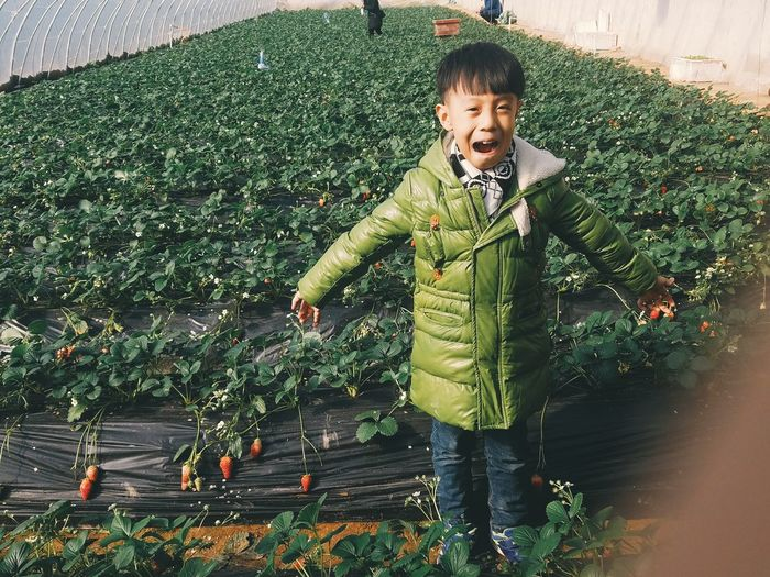 Uniqueness One Person Looking At Camera Portrait Full Length Indoors  One Man Only Green Strawberry Farm Little Boy Smile Nature Enjoying Life Relaxing People Day Travel Destinations Downtown District EyeEmNewHere