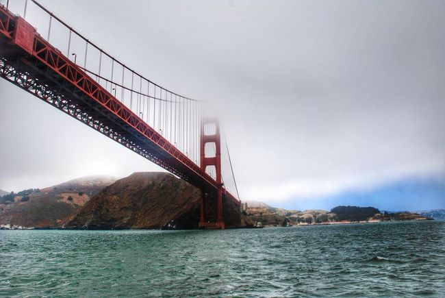 Golden Gate Bridge San Francisco California United States Bridge - Man Made Structure Suspension Bridge Water Outdoors Sky Business Finance And Industry Architecture City Built Structure Travel Destinations Connection Fog Day No People Nature Cityscape Ocean Scenics Sea Dramatic Angles