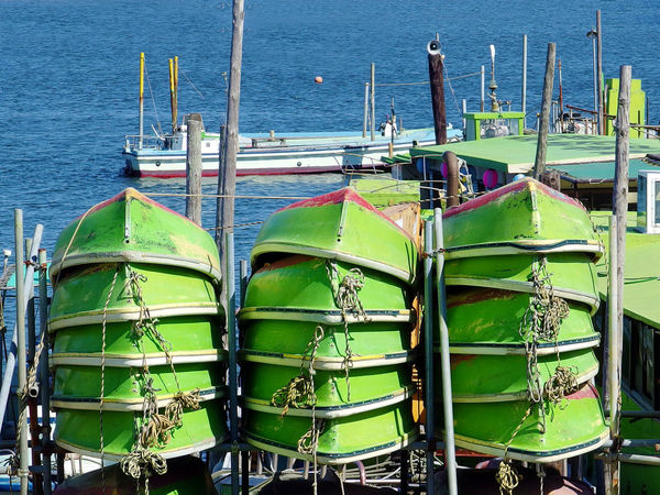 stack of green boats near the river Day Green Color Keepexploring Moored Nature Nautical Vessel No People Outdoors Transportation Water