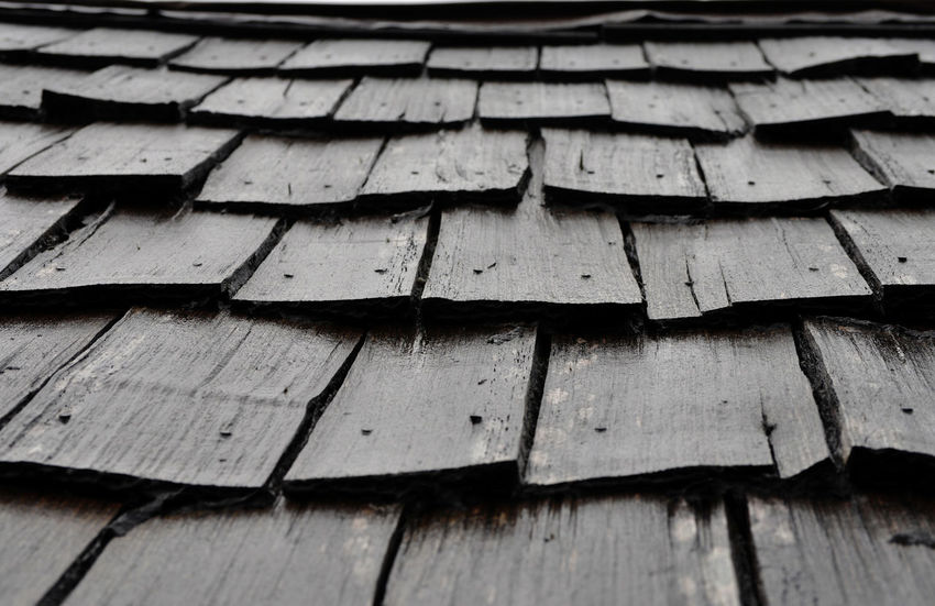 Wooden tiles on abandoned boatshed at Cradle Mountain in Tasmania, Australia. Abandoned Boathouses Heritage History Old Roof Sheds Textured  Tiles Weathered Wet Wood