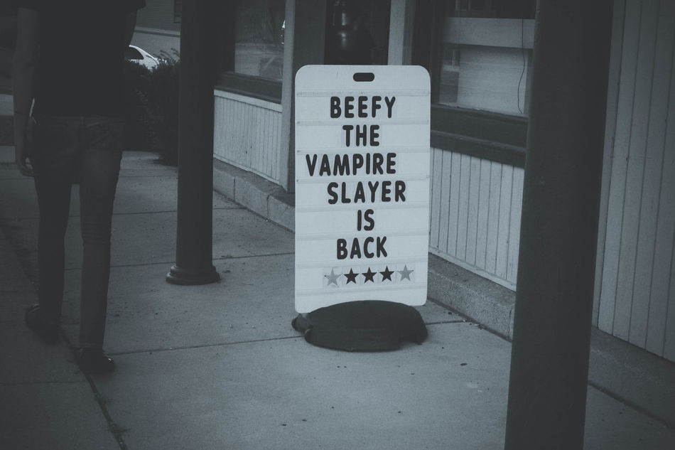 Beefy Black & White Black And White Blackandwhite Food Sign Funny Signs Great Sign... Information Information Sign Live Love Shop Restaurant Sign Shop Sign Signs SignSignEverywhereASign Text The Sign You've Been Looking For Eyeemphoto Vampire Slayer Walking Walking Around