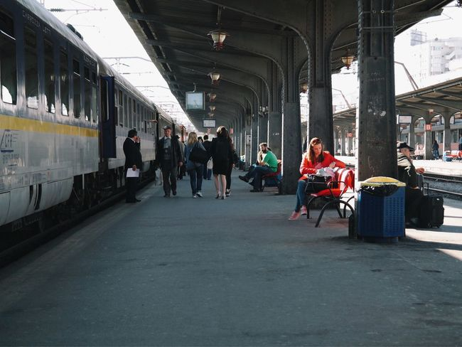 Lady in red... Taking Photos Train Station Hello World Traveling Enjoying Life Vscocam Having Fun Made In Romania Check This Out Transportation EyeEm Best Shots Hanging Out Relaxing Eye4photography  Outdoors Sun Streetphotography Woman Train Fun