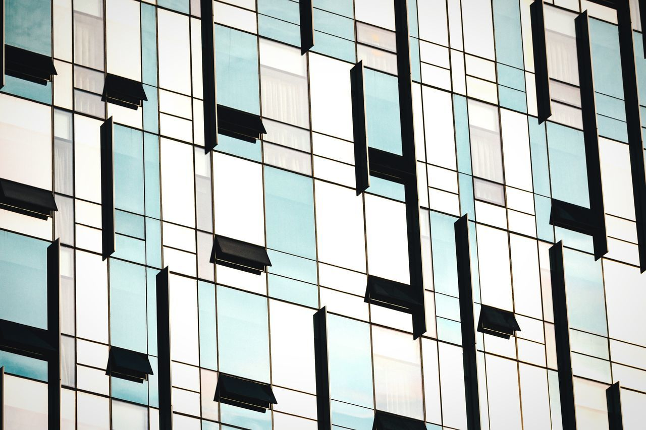 Closed curtains Architecture Building Exterior No People Built Structure Window Low Angle View Repetition Office Building Modern Glass - Material In A Row Pattern Colors And Patterns Urban Geometry Geometric Shapes Windows Glass Curtain Walls Busan Korea Exterior Detail Building Skyscraper Minimalism