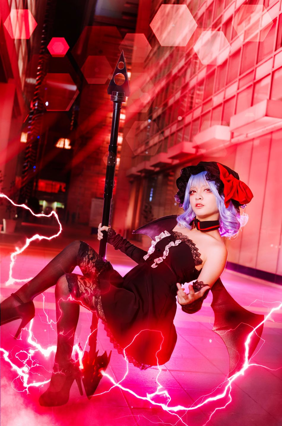 Castelia of the Scarlet Devil City Remilia Scarlet Red Young Adult Asdgraphy Cosplay Portrait Girl Night Floating Levitation Urban City Touhou Project Photo Manipulation