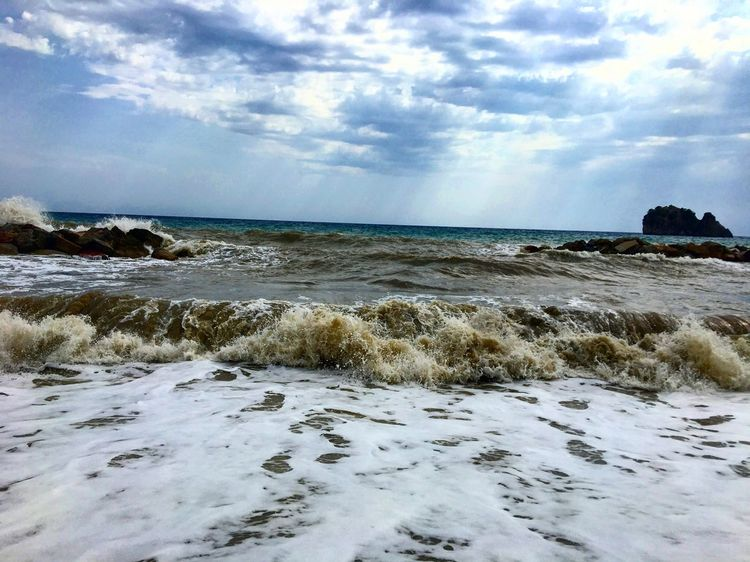 SPIAGGIA della Marinella Sea Water Nature Sky Cloud - Sky Horizon Over Water Beauty In Nature Scenics Wave Rock - Object Day Tranquility Tranquil Scene Beach Outdoors No People Grass