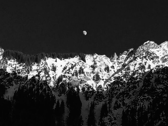 Moon and Mountain Moon Light Nature Mountain Beauty In Nature Scenics Snow Sky Landscape Winter