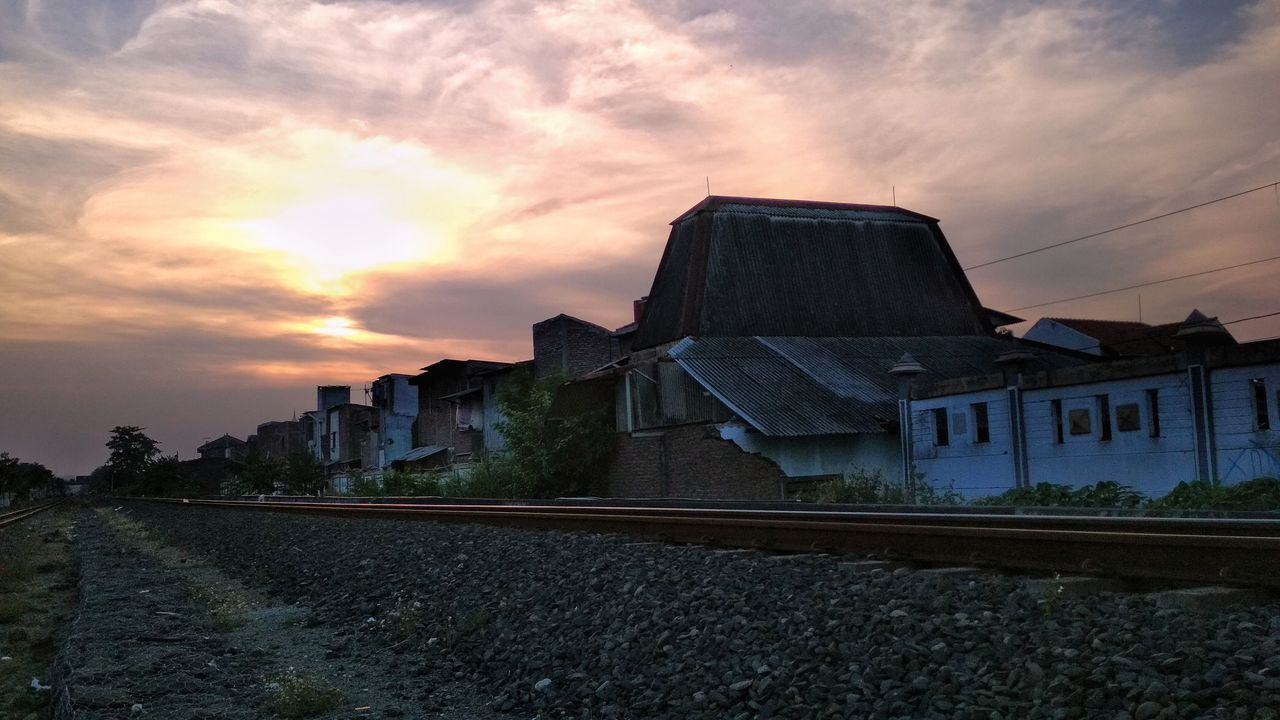 Sunset No People Architecture Building Exterior Sky Crimson Sky Cloud - Sky Scenic View Outdoors Light And Shadow Silhouette Stones And Pebbles Wall Railway Track The Week On EyeEm EyeEmNewHere