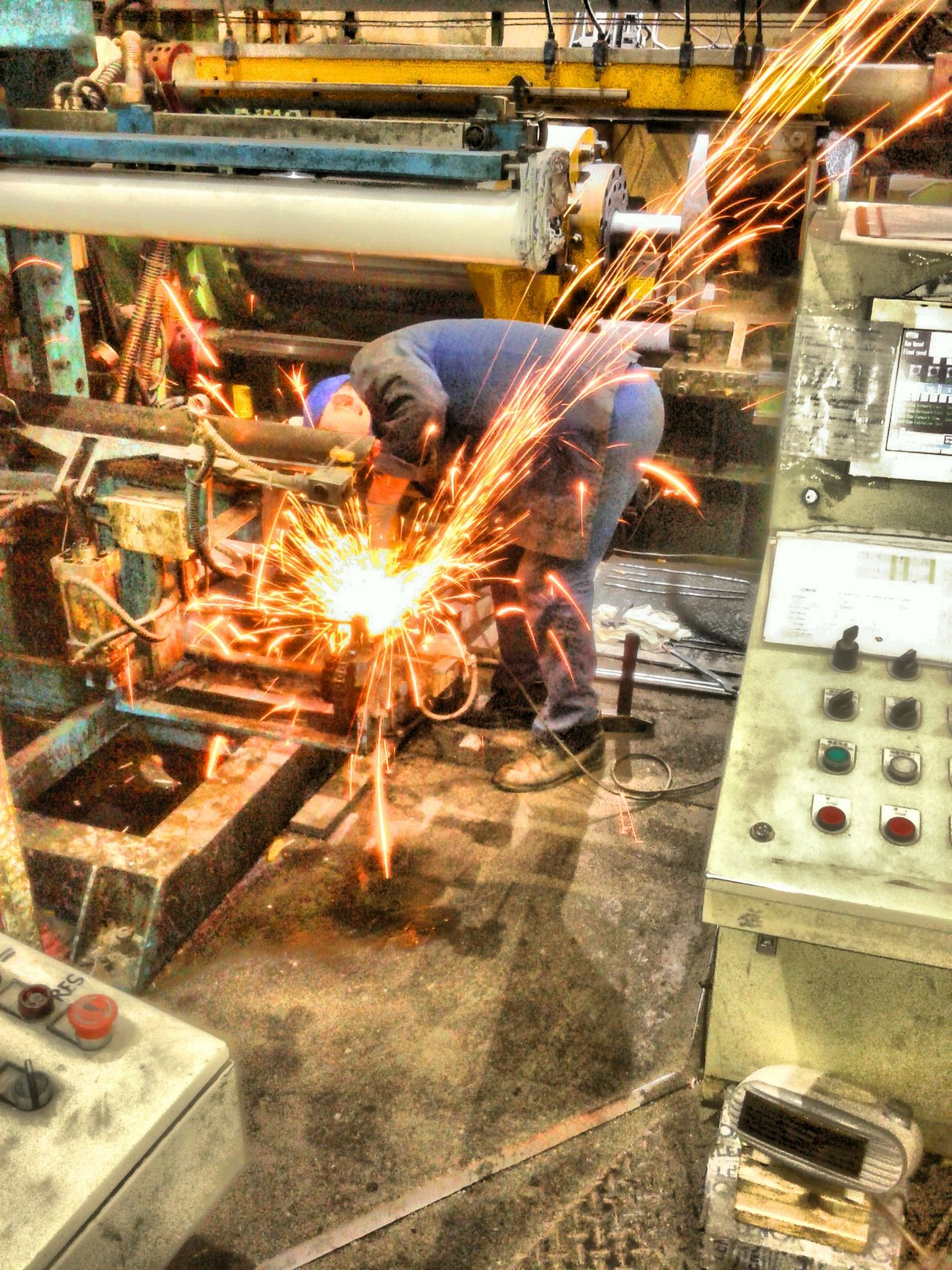 Working Sparks Industry Heat - Temperature Indoors  Metal Industry Welding Men Factory One Person Only Men Occupation One Man Only Welder Day People