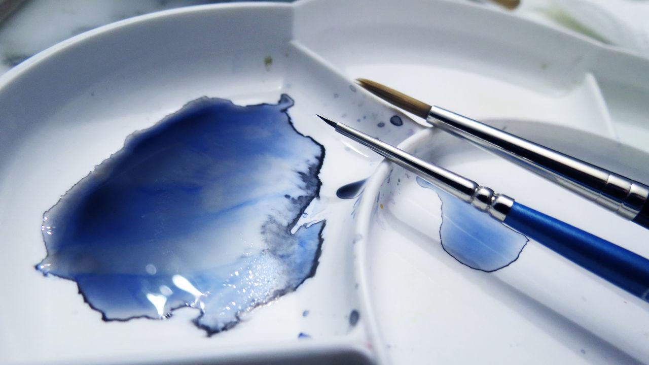 Blue Brush Color Drawing Paintbrush Painting Paintings Studio Watercolor Work