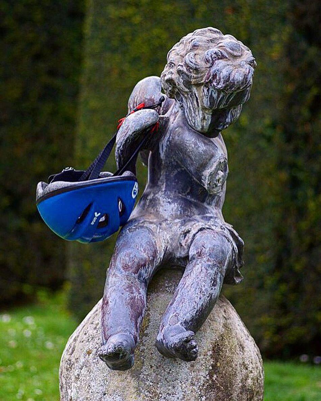 Rider Angel with his Helmet Statue Chateaudelahulpe La Hulpe Brabant Belgium Belgique Pentax