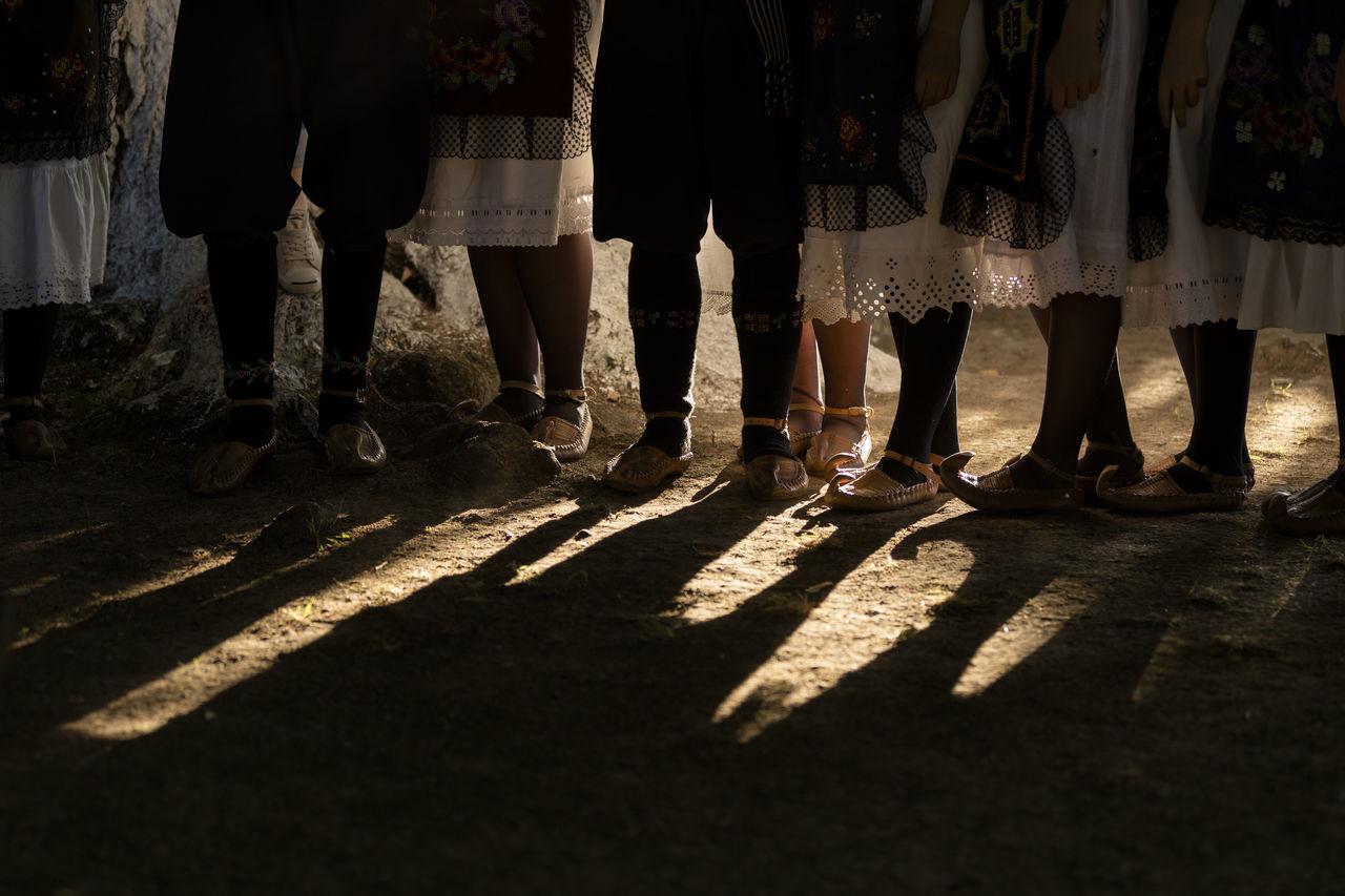 Serbian traditional footwear Costume Documentary Folk Folklore Footwear Human Leg Life Men Outdoors People Serbia Shadow Travel Youth Fresh On Market 2016