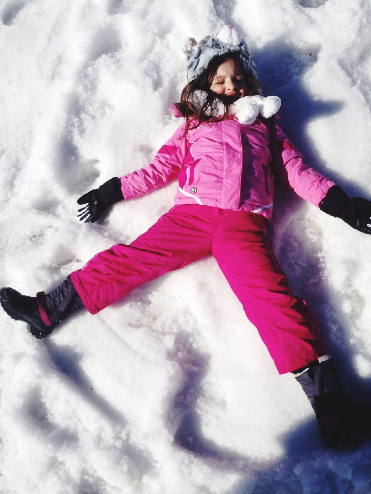 Snow Pink Color Cold Temperature Real People Outdoors Happiness Smiling Nature Childhood Angel Wings