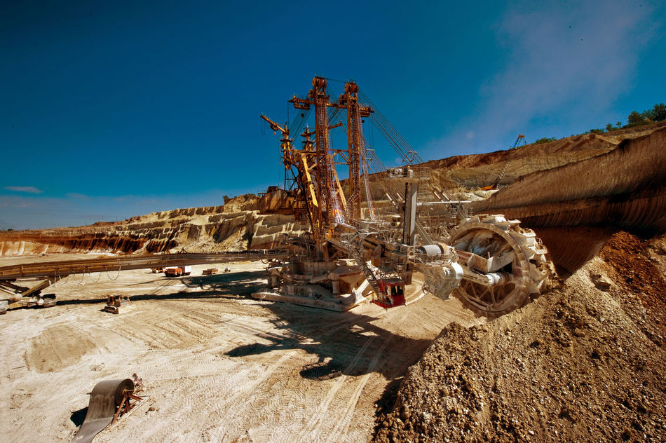 Russia, Staryy Oskol, mining centre, Stoilensky Mining and processing plant, bucket wheel excavator, Stripping Blue Bucket Wheel Excavator Cloud Day Deterioration Landscape Nature No People Outdoors Russia россия Sky Stripping The Land Sunlight Sunny Tranquility