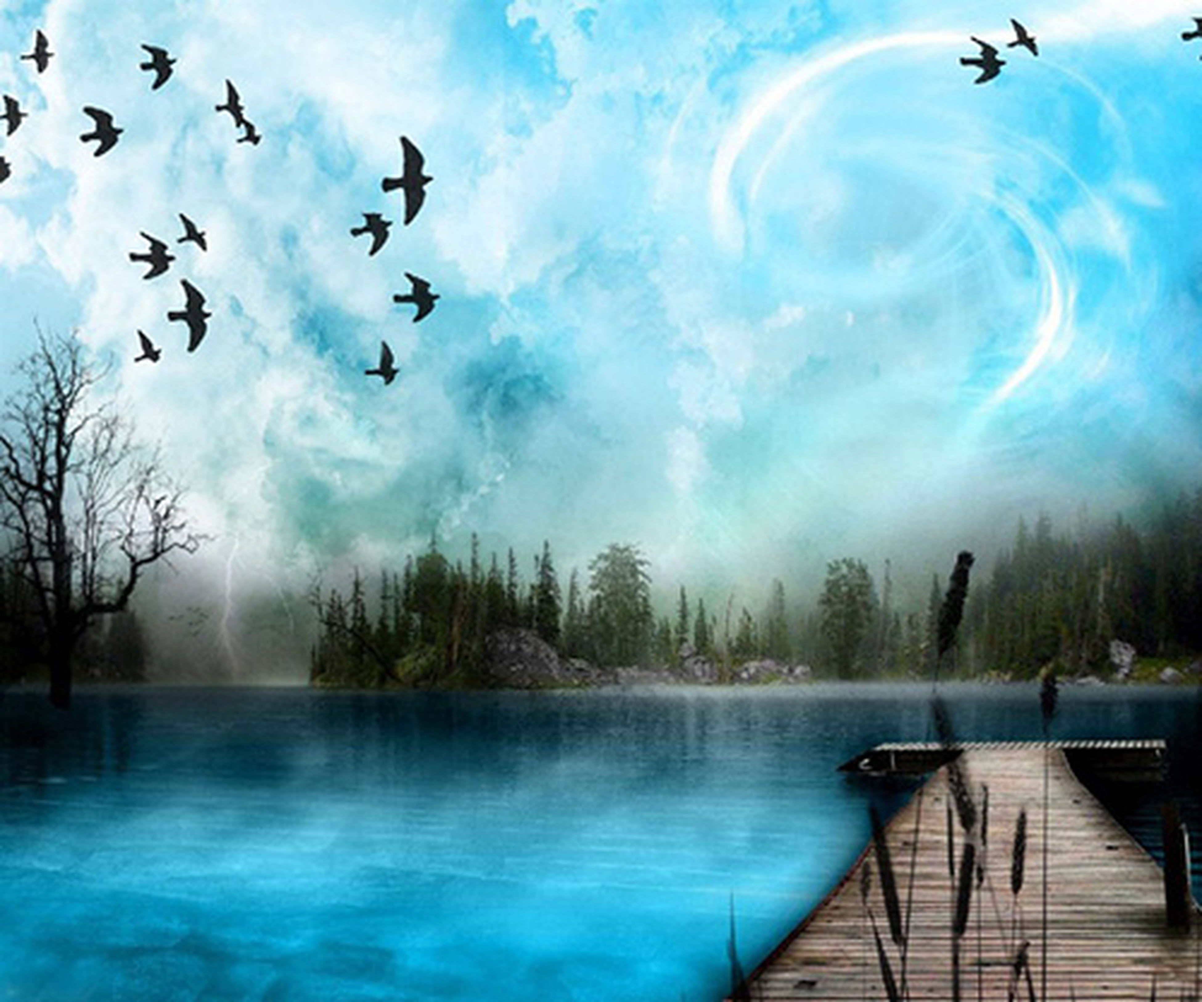 sky, water, flying, cloud - sky, lake, tree, bird, tranquil scene, cloud, tranquility, scenics, reflection, beauty in nature, nature, cloudy, mid-air, transportation, outdoors, animals in the wild, wildlife
