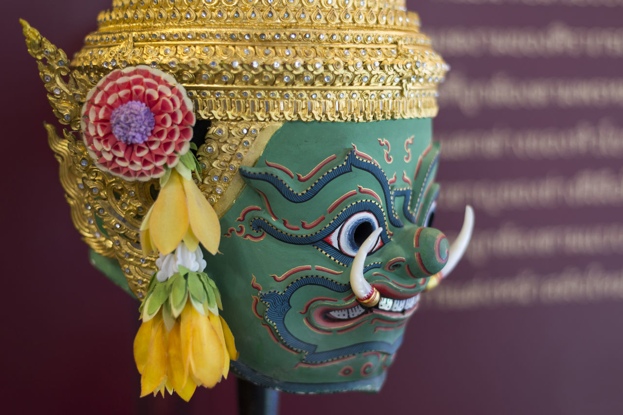 Tossakan, Ravana Khon Mask for Thai Tradional Performance art, dance Crown Dance Giant Green Thai Thailand Tossakan Arts Culture And Entertainment Close-up Colorful Day Demon Fine Art Gold Colored Headwear Indoors  Khon Mask No People Orge  Performance Art Ramayana Ravana Statue Traditional