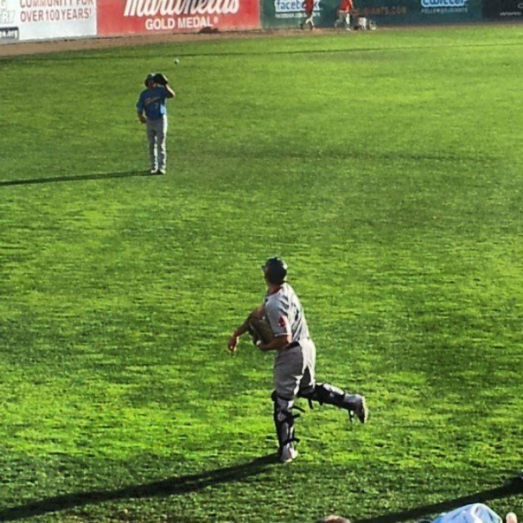 Pitcher Luke Jackson and Catcher Blake Swihart warming up before 2013 All Star game Lukejackson Blakeswihart AllStarGame 2013 minorleaguebaseball pitcher catcher myrtlebeachpelicans salemredsox baseball grass