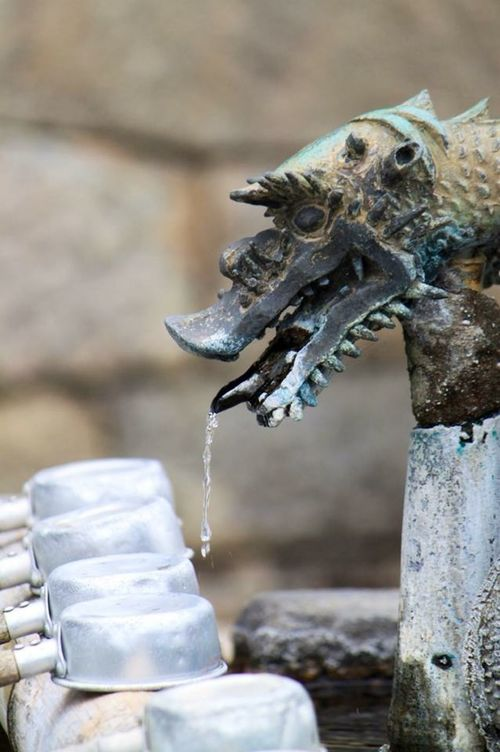 "⭐︎手水舎 ⭐︎Japanese language : ""Chōzuya "" Place for washing hands and mouth with water of ablution "" This is located in the temples and Shinto shrines, at a place for washing your hands and mouth with ablution. "" This dragon is being guarding a chōzuya at Taima temple of Nara Prefecture, Japan. 清めの水で手と口を洗浄するための場所。 「これは、清め​​の水で手と口を洗浄するための場所で寺院や神社にあります。」 この竜は奈良県の當麻寺で手水舎を守っています。 Chozuya 手水舎 Temple Japan Nara Prefecture Taima Temple"