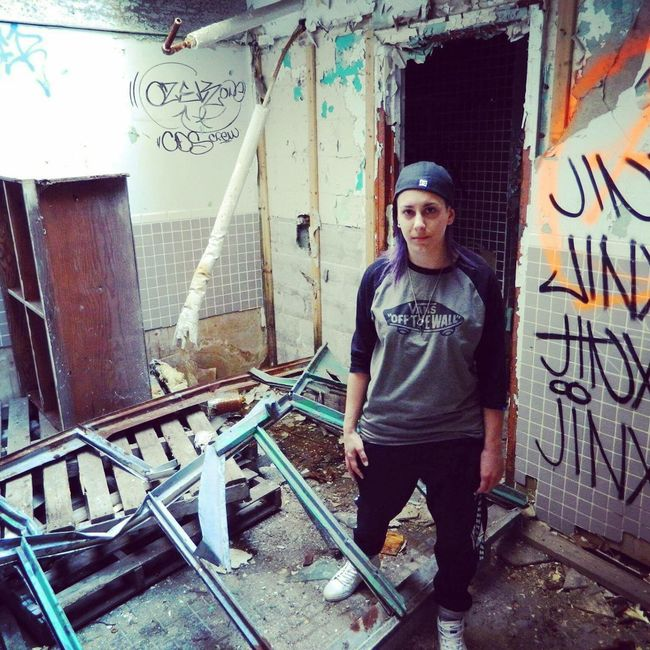 Armelyn Girl Tomboy Androgynous Androgynous Girl Tomboy Style That's Me Dilapidated Forsaken Factory Abandoned Abandoned Places Abandoned Buildings Abandonned Factory Buildings Graffiti Destroy Vandalism