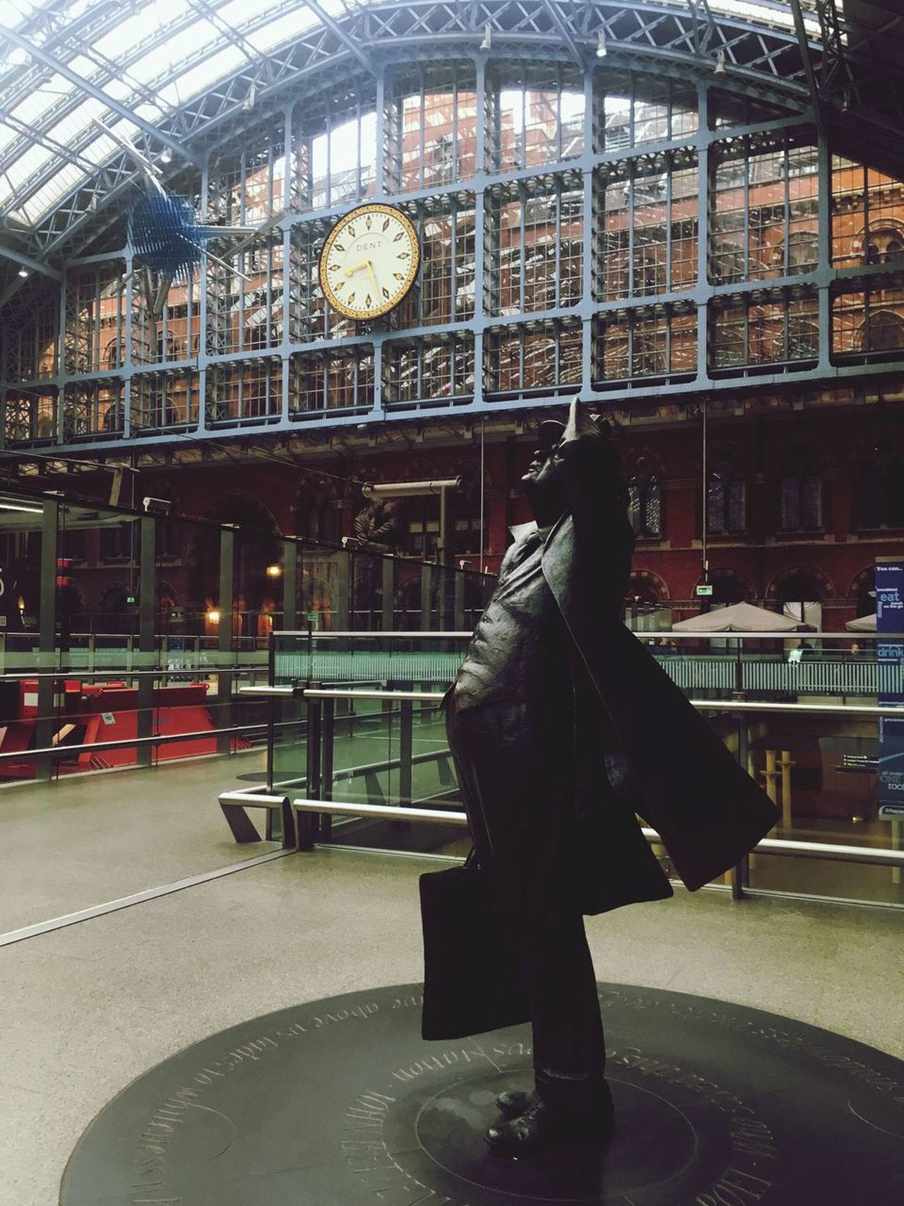 Looking up .. Time Flies in Sant Pancras Railway Station - Indoors  Architecture Statue Clock Built Structure London