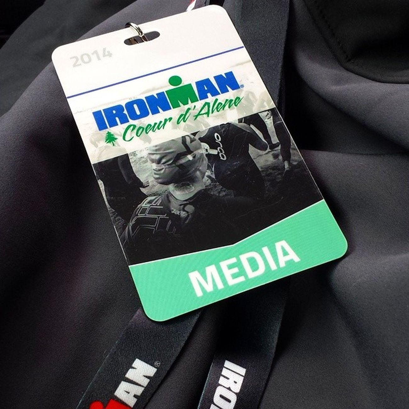 Not as cool as Competing but following an Athlete this weekend Shooting feature Footage  picked up our Credentials Ironman Coeurdalene 2014 ToesInTheSandProductions