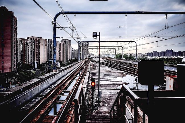 Shanghai metro My City My Street Photography From My Point Of View Transportation Railroad Track Building Exterior Public Transportation Electricity Pylon Railroad Station Taking Photos Streetphotography Shanghai Photography Shanghai Metro No People