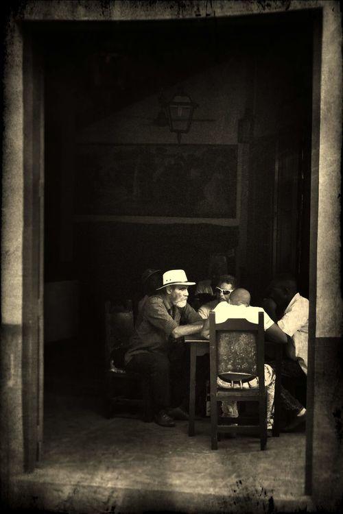 talking cuban men in the cafe Isabelita Black And White Caribbean Cuba, People Santiago De Cuba, Street Photography Street, TALKING MEN