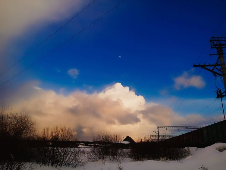 Beauty In Nature Cable Cloud - Sky Cold Temperature Day Moon Moon Shots Moonlight Nature No People Outdoors Power Line  Sky Snow Tree Winter