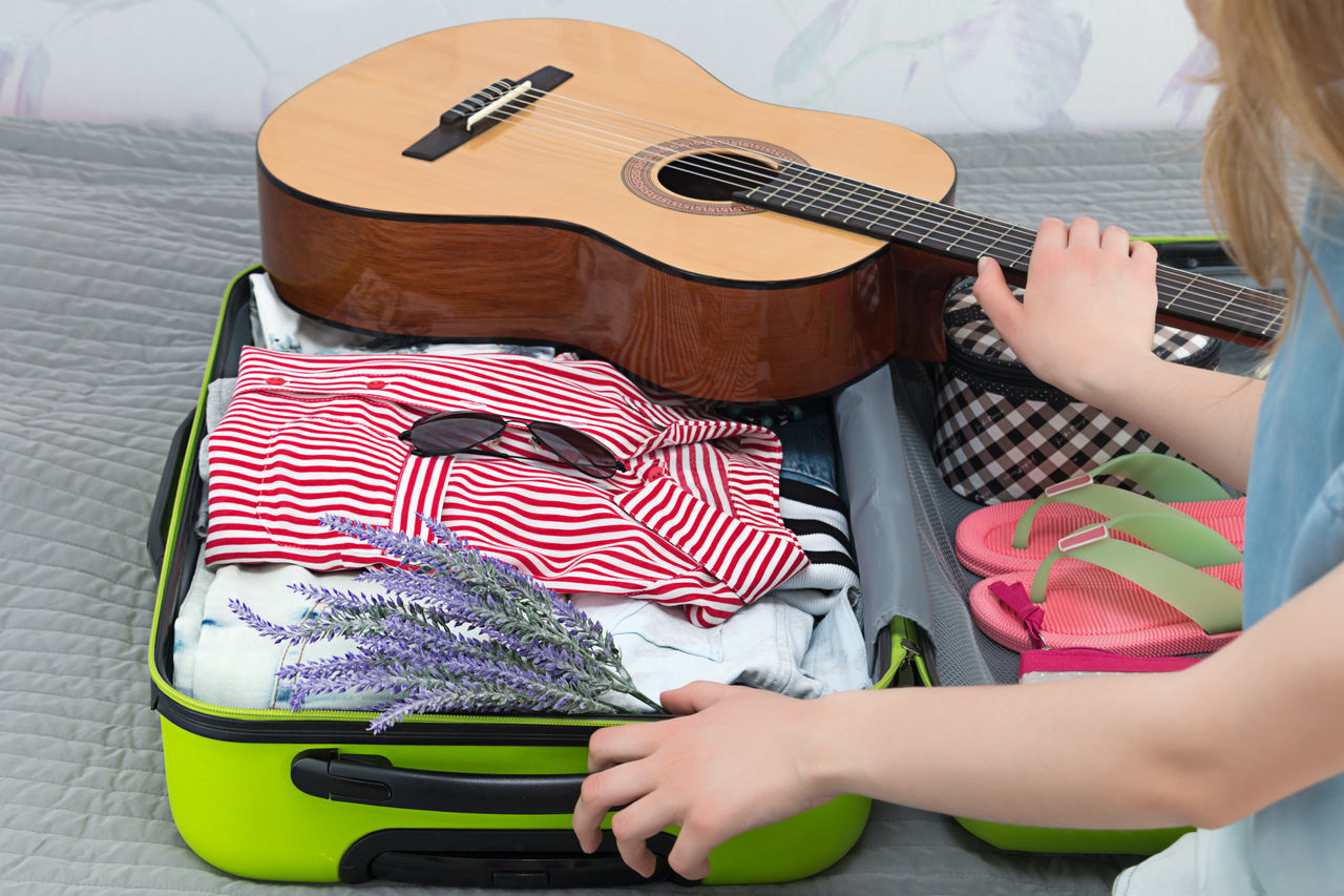Suitcase Travel Tourism Packing Bag Trip Sunglasses Flowers Voyage Girl Guitar Music Hiking Summer Time  Rest Vacation Pack Flip Flops