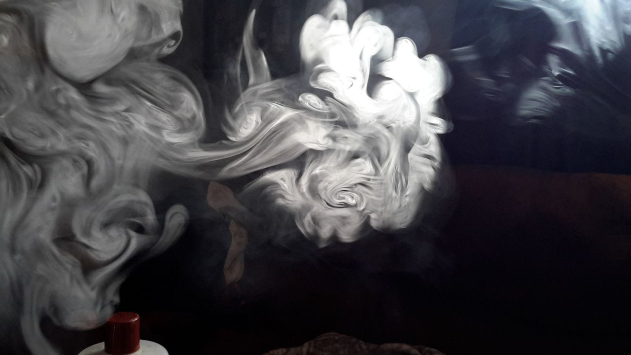 indoors, smoke - physical structure, close-up, motion, no people, day