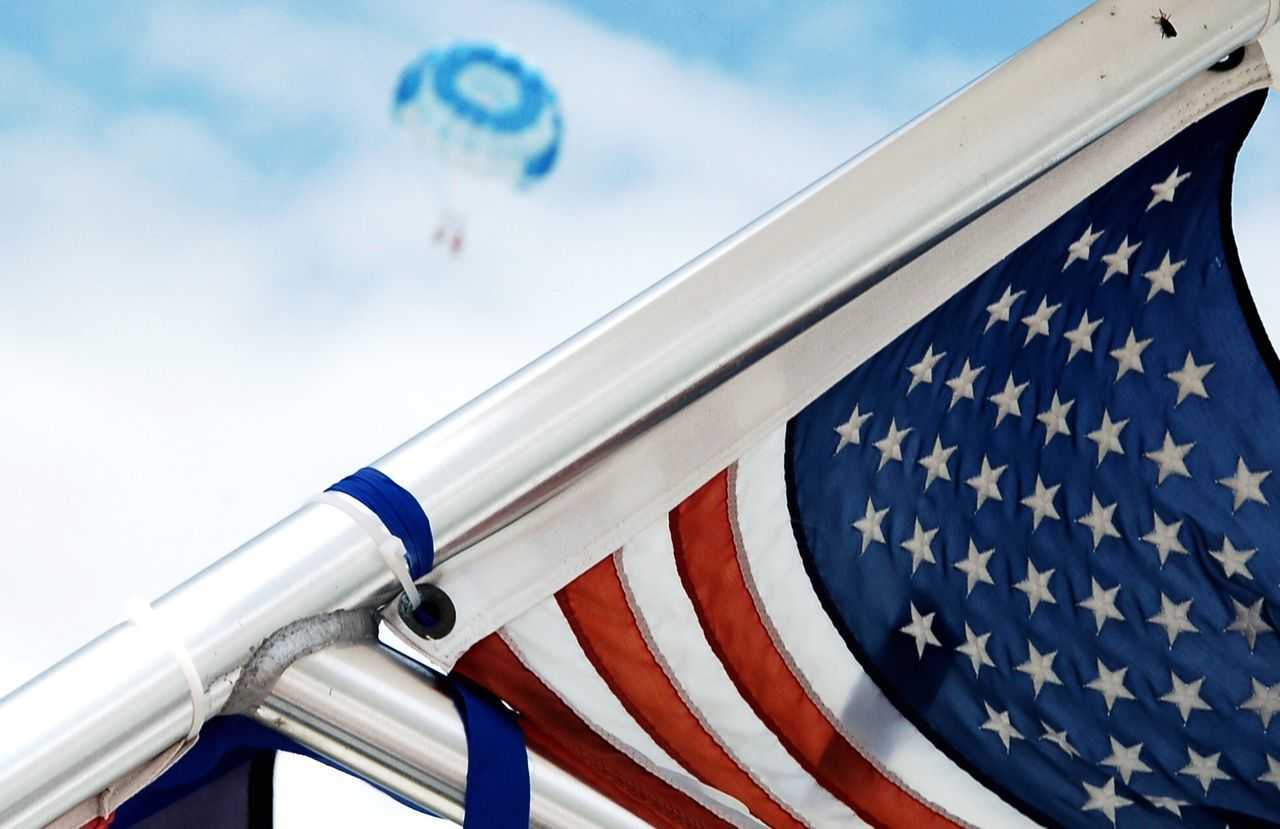 flag, patriotism, sky, striped, freedom, no people, day, outdoors, blue, stars and stripes, close-up