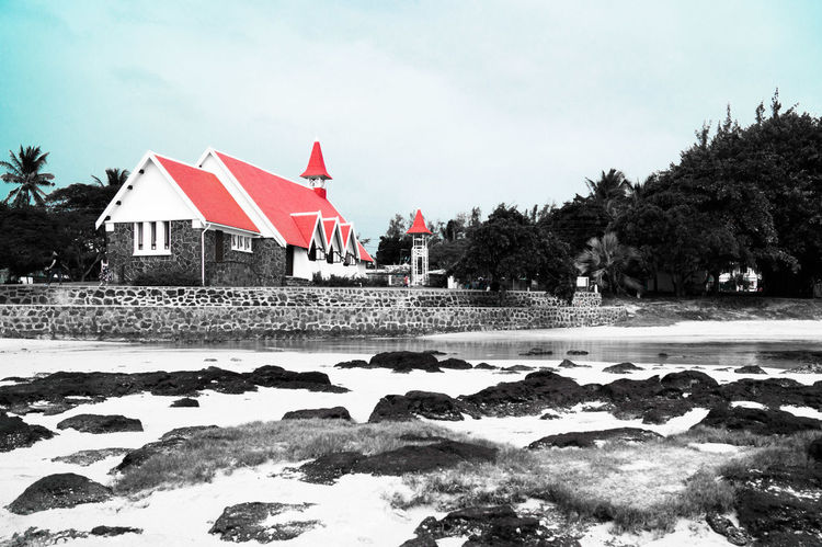 Landscape Red Red Roofs Blackandwhite Church Travel Destinations Travel Stone Blue Beach City Day